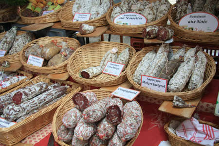 Traditional french sausages on a local market in Bedoin, France Stock Photo - 8513547