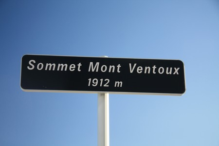 mont: Sign on top of the Mont Ventoux, altitude 1912 meters