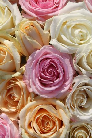A floral arrangement made of big pastel orange, white and pink roses photo
