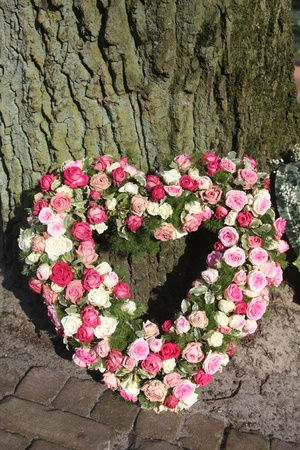 with sympathy: A sympathy flower arrangement, heart shaped and made of pink roses