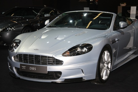 remake: April, 22nd 2011 Amsterdam, the Netherlands. Amsterdam Rai Carshow Aston Martin DBS remake of populair classic model