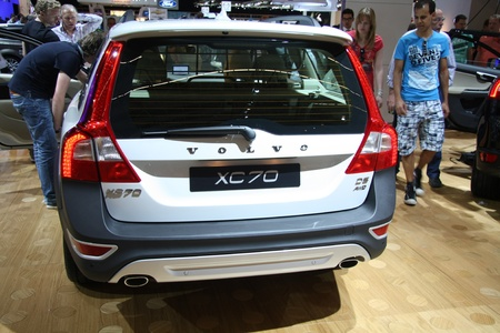 April, 22nd 2011 Amsterdam, the Netherlands. Amsterdam Rai Carshow Volvo XC70 rear view. Trendsetting white as used on one of Volvos top models the XC70