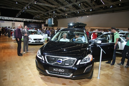 April, 22nd 2011 Amsterdam, the Netherlands. Amsterdam Rai Carshow Volvo XC60. Volvos first middle sized SUV in black