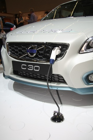 April, 22nd 2011 Amsterdam, the Netherlands. Amsterdam Rai Carshow Volvo C30 hybrid. The smallest model in their range comes in a hybrid version Stock Photo - 9397116