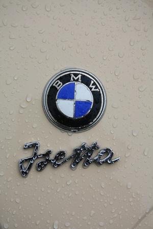 noord: August 6th, 2011 Oldtimershow Santpoort Noord, the Netherlands 1960 BMW Isetta 300 logo Editorial