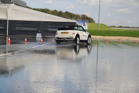 september 23rd, 2011 Lelystad, the Netherlands, Goodyear Safe Drive Experience. Testing Run on Flat technology tires with a Mini Cooper