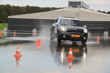 lelystad: september 23rd, 2011 Lelystad, the Netherlands, Goodyear Safe Drive Experience. Testing Run on Flat technology tires with a Mini Cooper Countryman 4x4