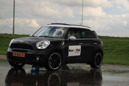 september 23rd, 2011 Lelystad, the Netherlands, Goodyear Safe Drive Experience. Testing Run on Flat technology tires with a Mini Cooper Countryman 4x4