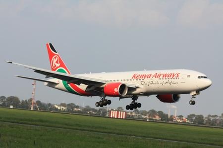 schiphol: september, 3rd 2011, Amsterdam Schiphol Airport 5Y-KQT - Boeing 777-2U8ER - Kenya Airways landing on Polderbaan