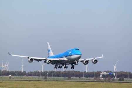October, 22nd 2011, Amsterdam Schiphol Airport PH-BFD KLM Royal Dutch Airlines Boeing 747-406 landing on Polderbaan