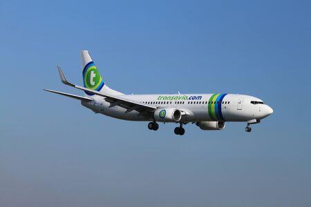 schiphol: October, 22nd 2011, Amsterdam Schiphol Airport PH-HZO - Boeing 737-8K2 - Transavia landing on Polderbaan Editorial