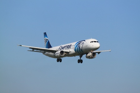 October, 22nd 2011, Amsterdam Schiphol Airport SU-GBT EgyptAir Airbus A321-231 landing on Polderbaan