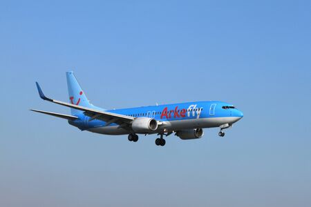October, 22nd 2011, Amsterdam Schiphol Airport PH-TFF ArkeFly Boeing 737-86N landing on Polderbaan