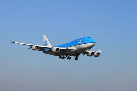 October, 22nd 2011, Amsterdam Schiphol Airport PH-BFV KLM Royal Dutch Airlines Boeing 747-406 landing on Polderbaan