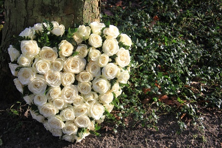 Heart shaped sympathy flower arrangement with white roses near a tree Stock Photo