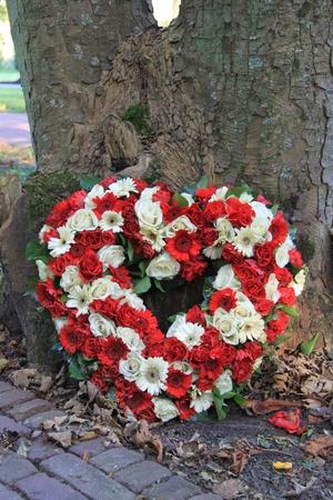 luto: Corazón en forma de simpatía arreglo floral con flores de color rojo y blanco Foto de archivo