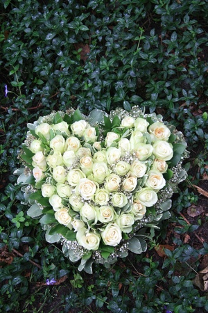 with sympathy: Heart shaped sympathy flower arrangement with white roses Stock Photo