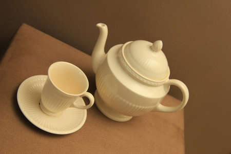 A classic cream white teapot and a cup in a still life Stock Photo - 12380247