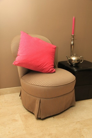 Inter design: classic chair, hocker and silver and pink accessoiries Stock Photo - 12380219