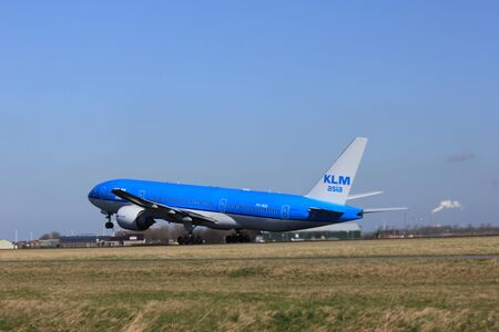 March, 11st 2012, Amsterdam Schiphol Airport PH-BQI KLM Royal Dutch Airlines Boeing 777-206 take off from Polderbaan Runway