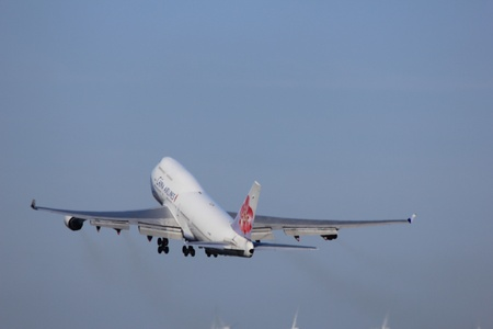 March, 11st 2012, Amsterdam Schiphol Airport  B 18251 China Airlines Boeing 747-409 take off from Polderbaan Runway