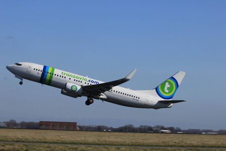 polderbaan: March, 11st 2012, Amsterdam Schiphol Airport   PH HSE Transavia Airlines Boeing 737-8K2 take off from Polderbaan Runway