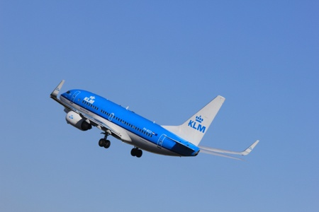 polderbaan: March, 11st 2012, Amsterdam Schiphol Airport PH-BGO KLM Royal Dutch Airlines Boeing 737-7K2 take off from Polderbaan Runway