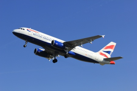March, 11st 2012, Amsterdam Schiphol Airport G EUUV British Airways Airbus A320-232 take off from Polderbaan Runway
