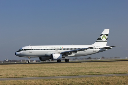livery: March, 11st 2012, Amsterdam Schiphol Airport EI-DVM Aer Lingus Airbus A320-214 Retro Livery take off from Polderbaan Runway