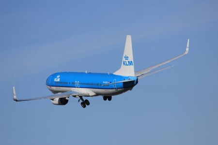 March, 11st 2012, Amsterdam Schiphol Airport PH-BXV KLM Royal Dutch Airlines Boeing 737-8K2 take off from Polderbaan Runway Stock Photo - 12618464