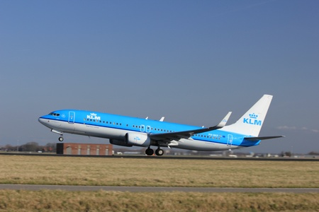polderbaan: March, 11st 2012, Amsterdam Schiphol Airport PH-BXF KLM Royal Dutch Airlines Boeing 737-8K2 take off from Polderbaan Runway