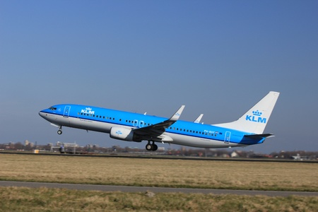 March, 11st 2012, Amsterdam Schiphol Airport PH-BXF KLM Royal Dutch Airlines Boeing 737-8K2 take off from Polderbaan Runway Stock Photo - 12618496