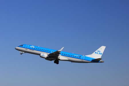 March, 11st 2012, Amsterdam Schiphol Airport PH-EZB KLM Cityhopper Embraer ERJ-190STD  take off from Polderbaan Runway