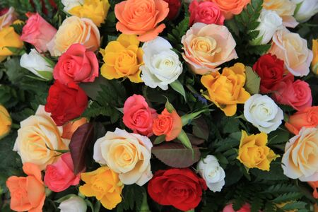 Mixed rose bouquet, big roses in bright colors Stock Photo - 13008668