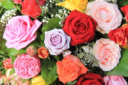 Mixed rose bouquet, big roses in bright colors Stock Photo - 13008673