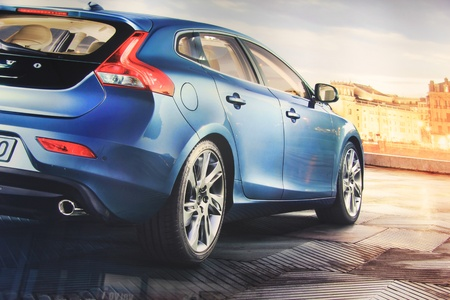 March 31st, Beesd the Netherlands Presentation of new Volvo V40, advertisement in detail on big screen Editorial