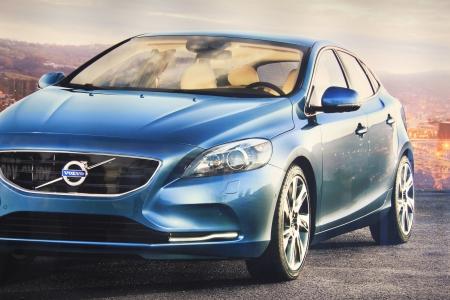 31. März, Beesd die Niederlande Vorstellung des neuen Volvo V40, Werbung im Detail auf Grossleinwand