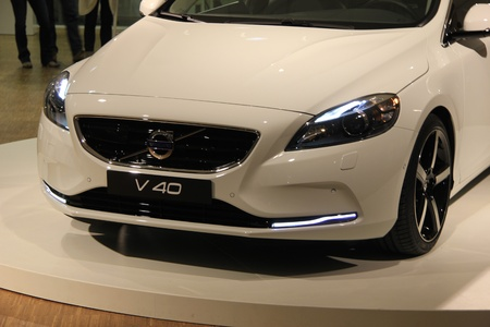 March 31st, Beesd the Netherlands Presentation of new Volvo V40, introduction of latest Volvo model, detail of front Stock Photo - 13021584