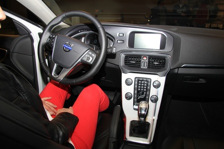 drivers seat: March 31st, Beesd the Netherlands Presentation of new Volvo V40, introduction of latest Volvo model, woman on drivers seat