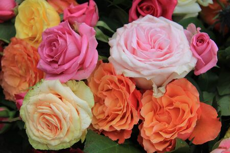 rose bouquet: Mixed rose bouquet, big roses in bright colors Stock Photo