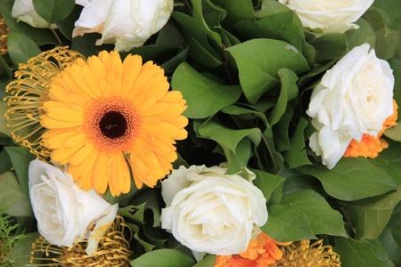 Yellow and white flower arrangement yellow gerberas and white stock photo yellow and white flower arrangement yellow gerberas and white roses mightylinksfo