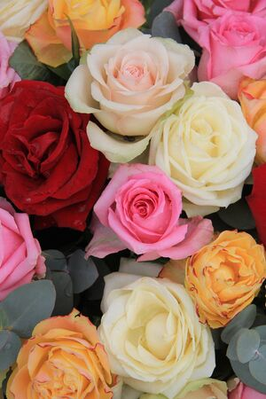 Pastel rose bouquet with red rose accents Stock Photo - 13093637