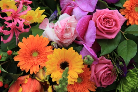 Combination of many different flowers in bright colors in a spring bouquet Stock Photo - 13093685