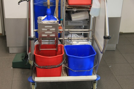 proffessional: Cleaning equipment trolley, used in a public area Stock Photo