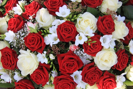 Classic combination of big white and red roses in a bouquet photo