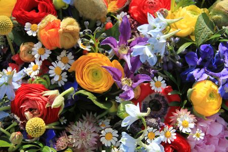 Wildflower arrangement in bright colors, various flowers photo