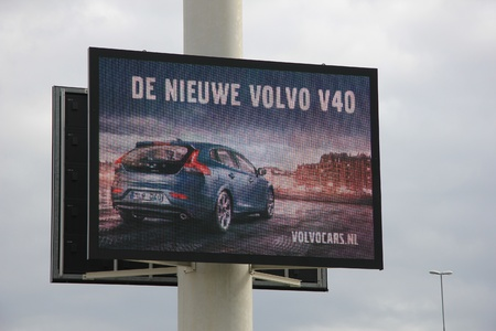 March 31st, Beesd the Netherlands Presentation of new Volvo V40, advertisement outside Dutch Volvo headquarters Stock Photo - 13337289