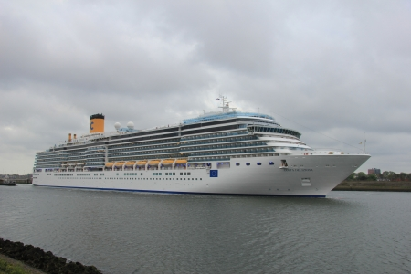 May 14th 2012, IJmuiden, the Netherlands. Costa Deliziosa. The Costa Deliziosa is a 957.8ft long cruise ship, built in 2010, owned and operated by Costa Crociere.
