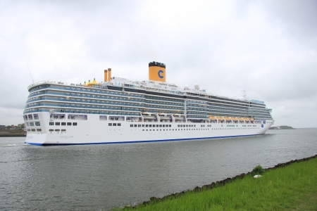 deliziosa: May 14th 2012, IJmuiden, the Netherlands. Costa Deliziosa. The Costa Deliziosa is a 957.8ft long cruise ship, built in 2010, owned and operated by Costa Crociere.