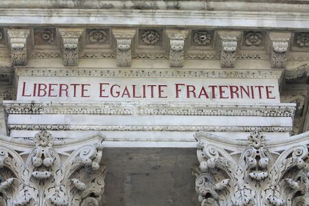motto:  Liberty, equality, fraternity, the national motto of France, inscription in the townhall of Avignon, France